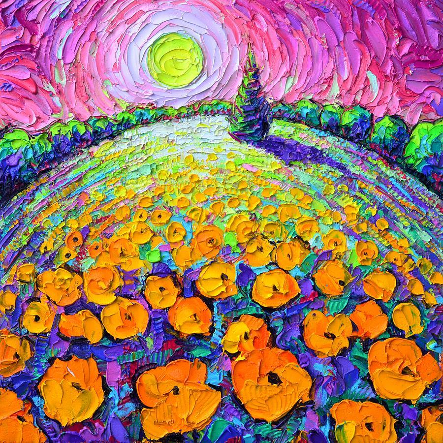 ORANGE POPPIES ROUNDSCAPE MYSTIC PINK NIGHT textural impasto knife oil painting Ana Maria Edulescu by ANA MARIA EDULESCU