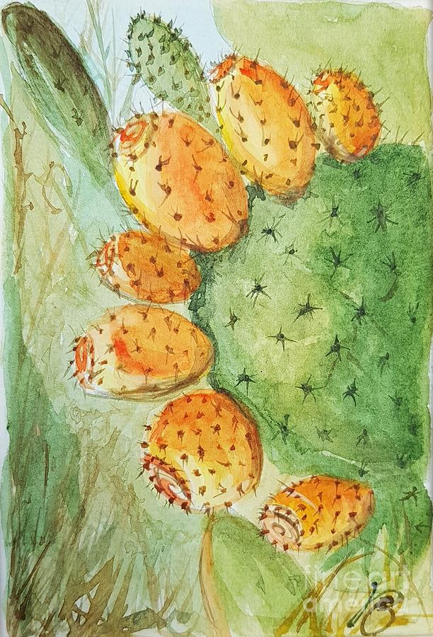Orange pricky pear cactus by Paola Baroni