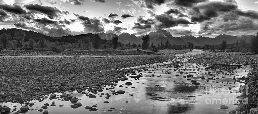 Orange Skies Over Spread Creek Panorama Black And White by Adam Jewell
