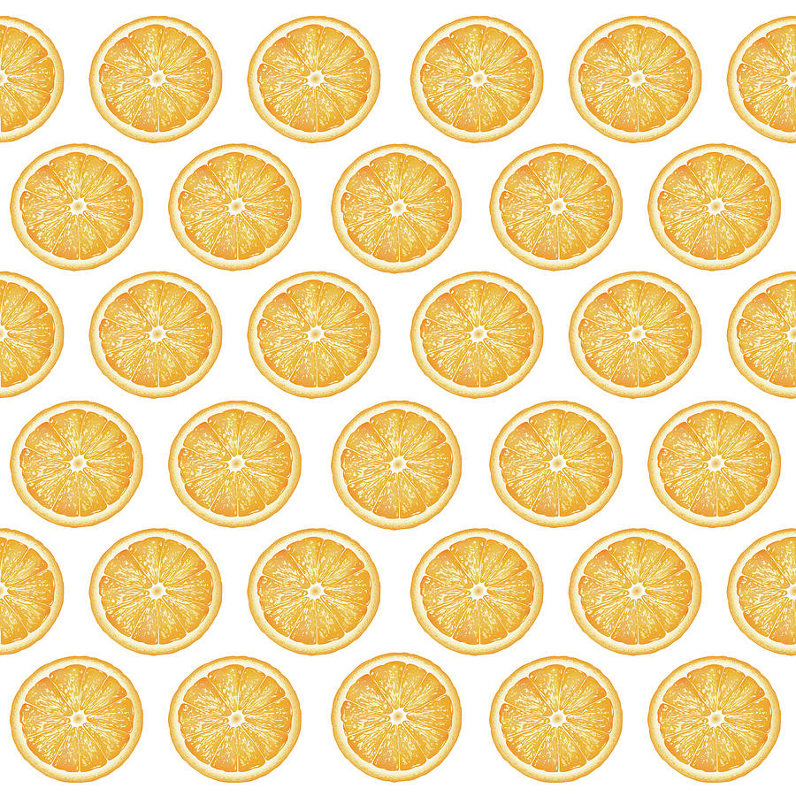 Orange Slice Pattern 1 - Tropical Pattern - Tropical Print - Lemon - Orange - Fruit - Tangerine Mixed Media