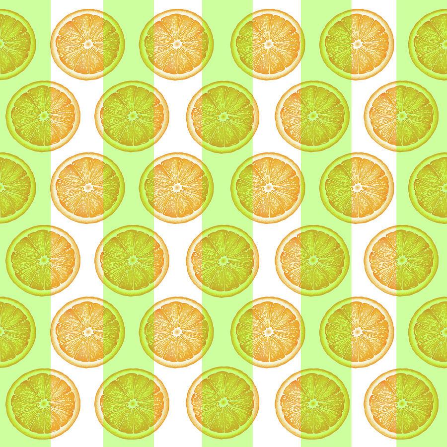 Orange Slice Pattern 2 - Tropical Pattern - Tropical Print - Lemon - Orange - Fruit - Tangerine Mixed Media