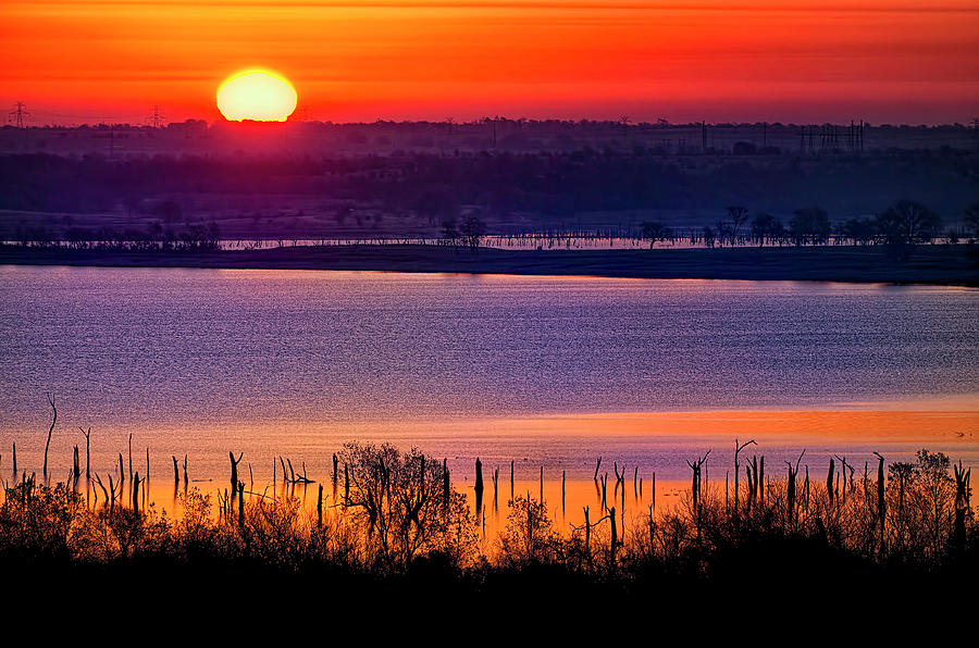 Orange Sunrise On Benbrook Lake Photograph by Dean Fikar
