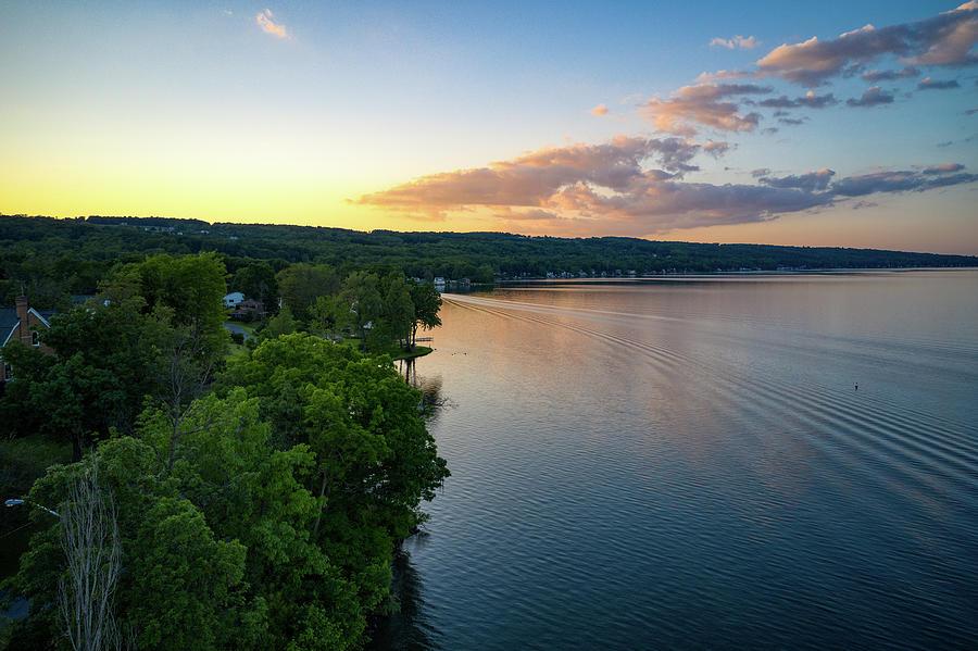 Orange Sunset Over Keuka Lake by Ants Drone Photography