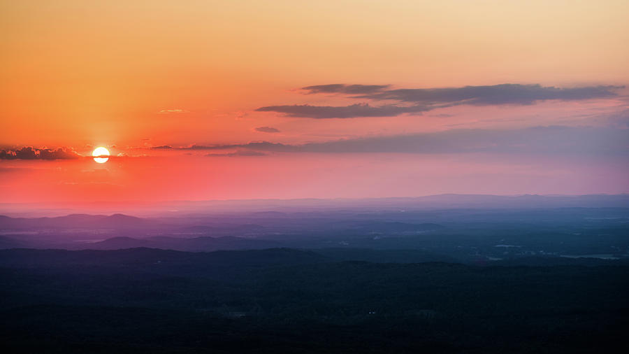 Orange Sunset over the Valley - Mt. Cheaha by James-Allen