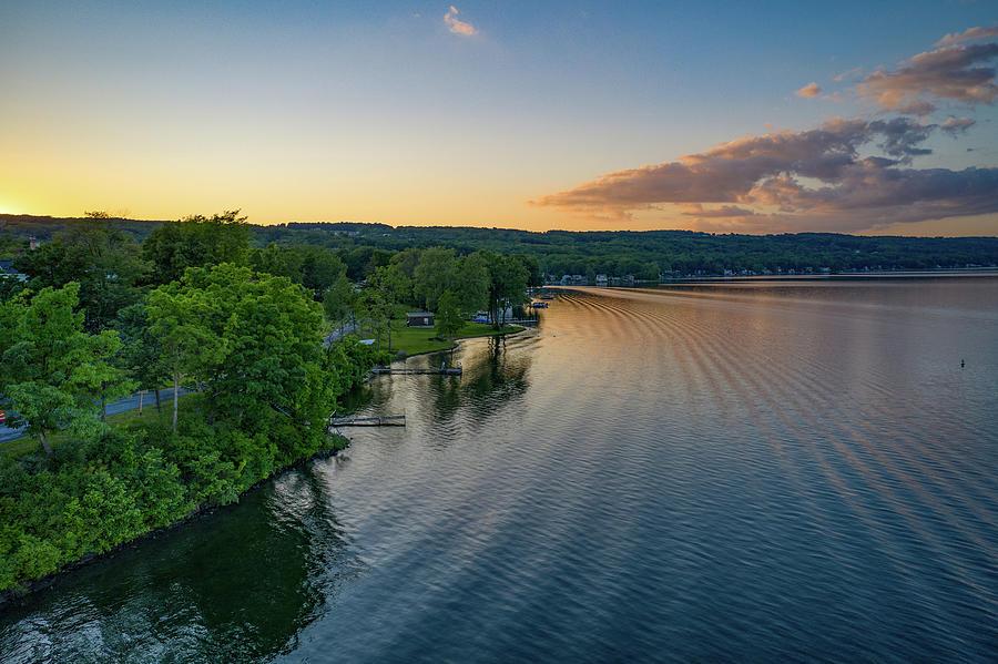Orange Sunset Sky Keuka Lake by Ants Drone Photography