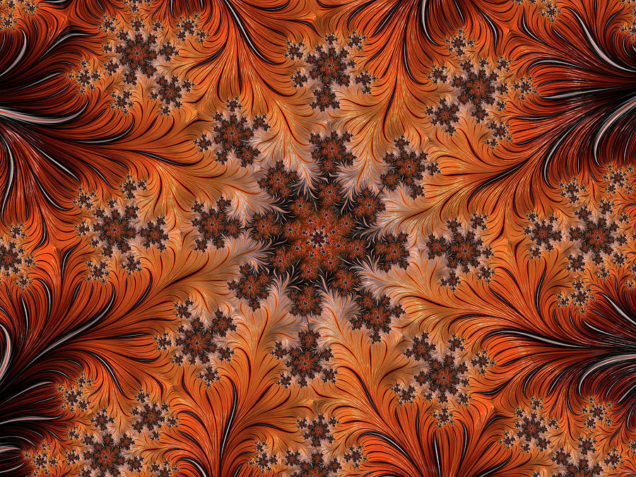 Orange Swirls Digital Art
