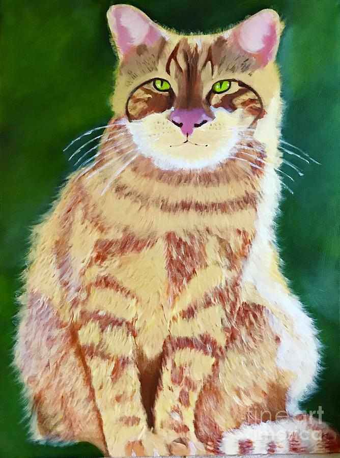 Original Oil Painting Orange Tabby Cat by Theresa Honeycheck