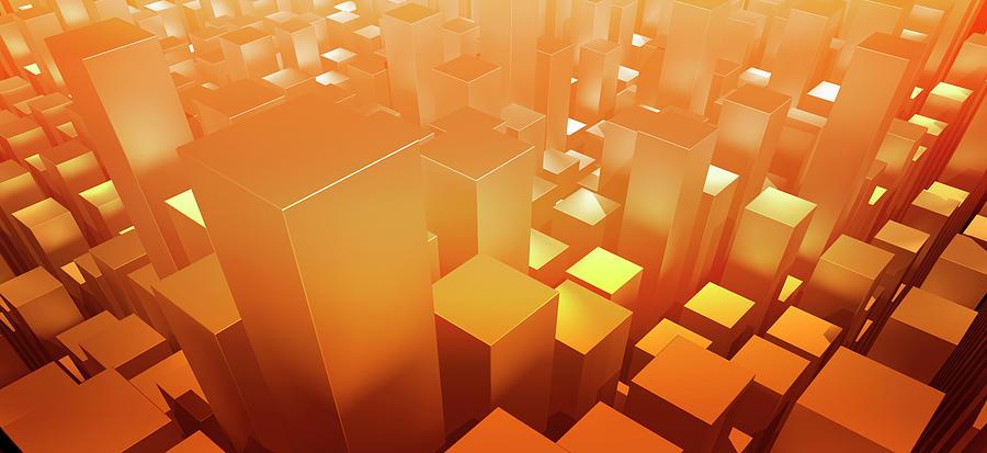 Orange Three Dimensional Rectangular Digital Art by Ralf Hiemisch