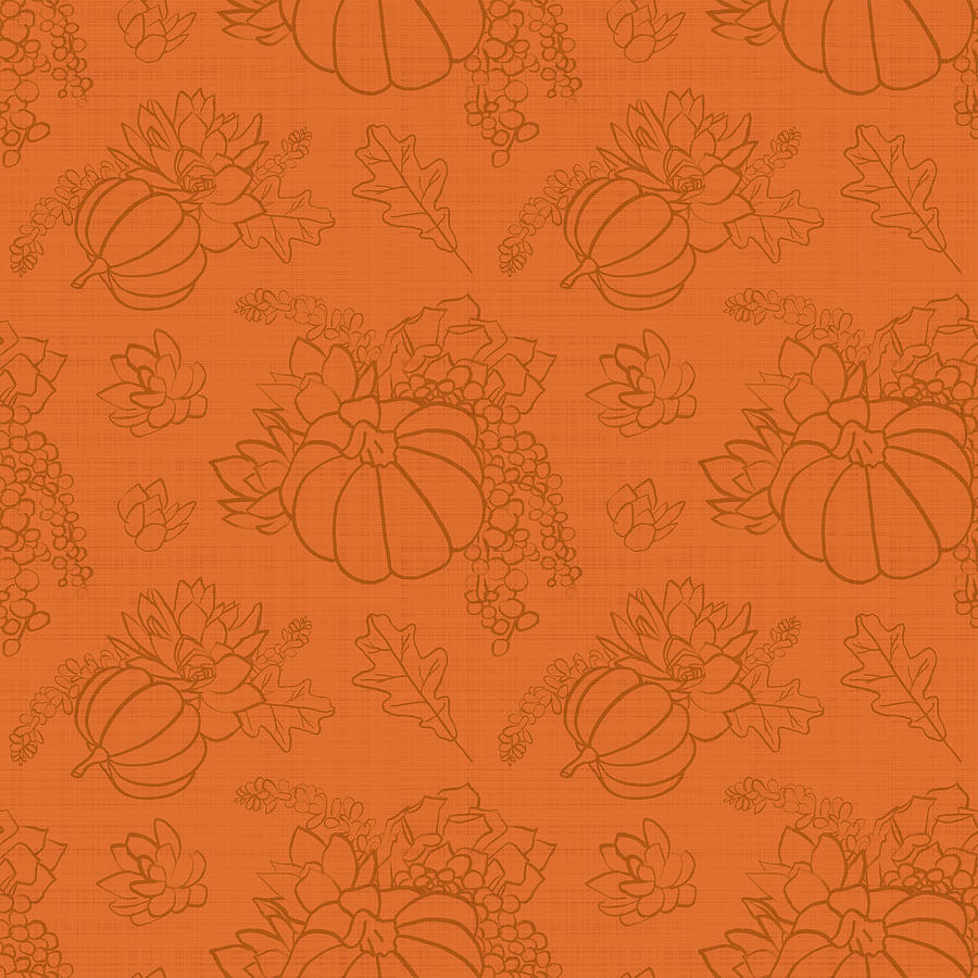 Orange Tonal Succulent Pumpkin Pattern by Jen Montgomery by Jen Montgomery