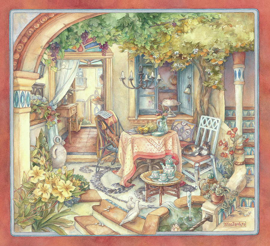 Watercolors Painting - Orange Tree Courtyard by Kim Jacobs