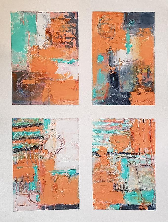 Orange/Turq Study X 4 Painting by Ellen Kirwan
