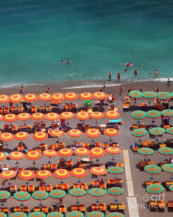 Orange Umbrellas in Positano by Brian Jannsen