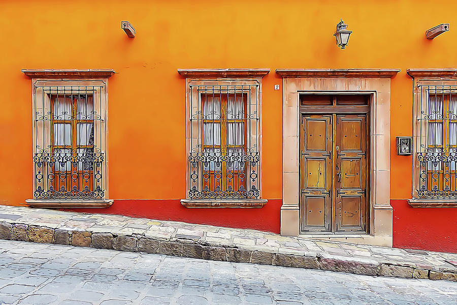 Orange Wall with Three Windows and a Door by Douglas J Fisher