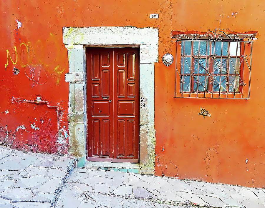 Orange Wall with Wood Door and Window by Douglas J Fisher