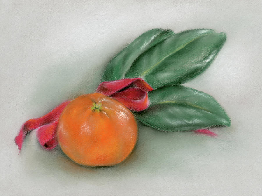 Orange with Magnolia Leaves and Red Bow by MM Anderson