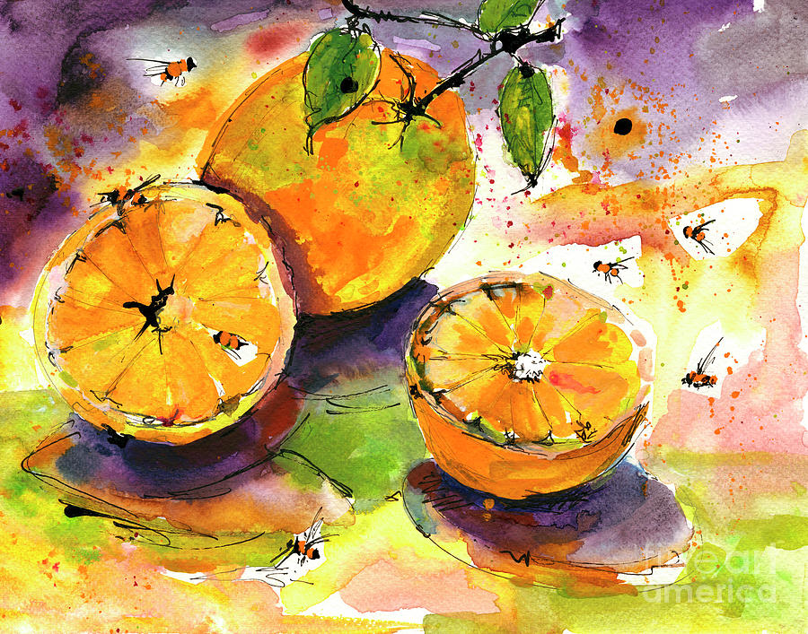Oranges and Bees Watercolors Painting by Ginette Callaway