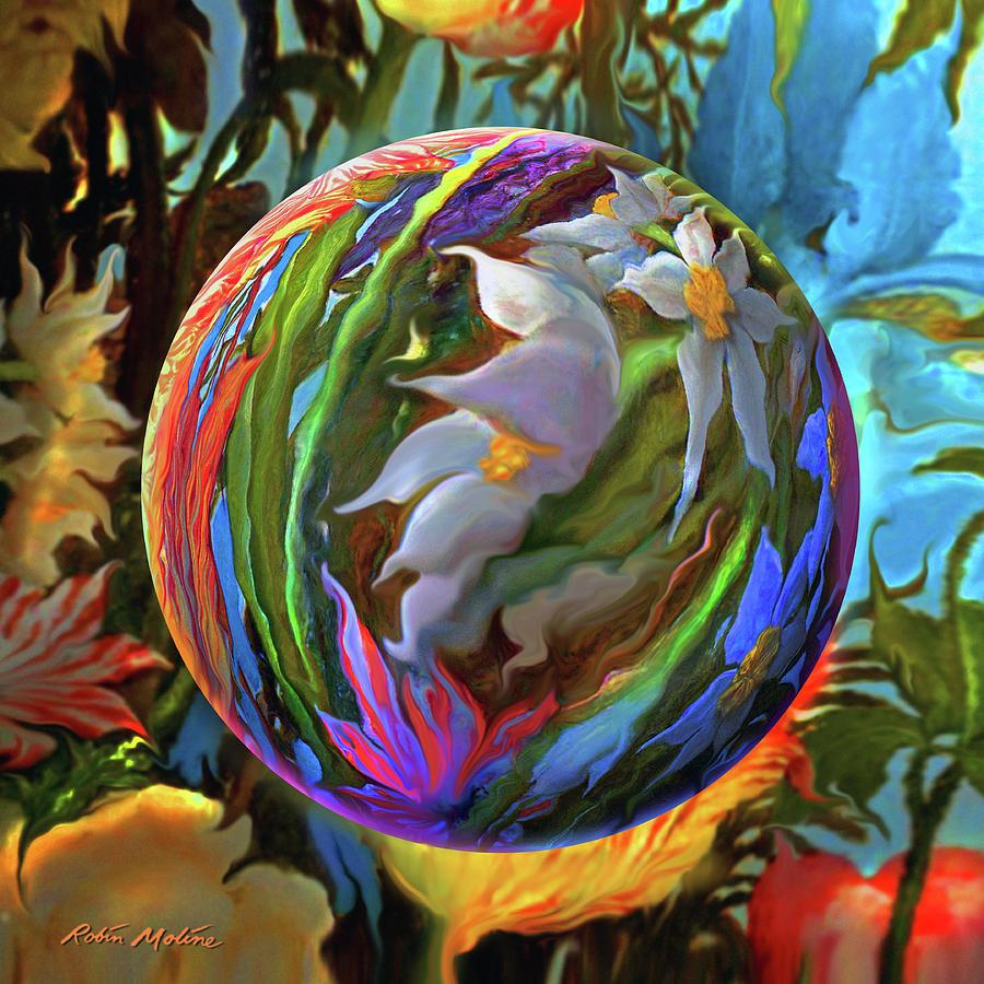 Tropical Painting - Orbing Aloha Lei by Robin Moline
