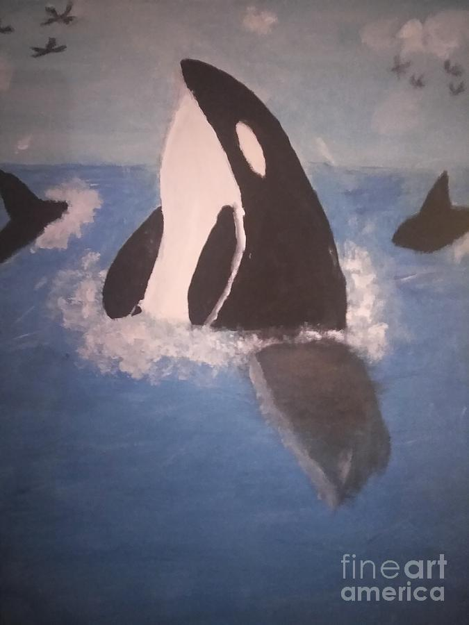 Orcas At Sea by Joyce A Rogers