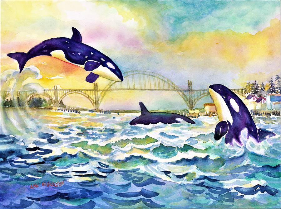Orcas in Yaquina Bay by Ann Nicholson