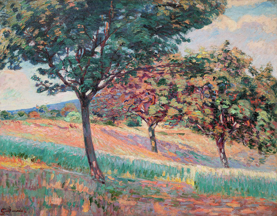 Armand Guillaumin Painting - Orchard At The Edge Of A Wood In Saint-cheron by Armand Guillaumin