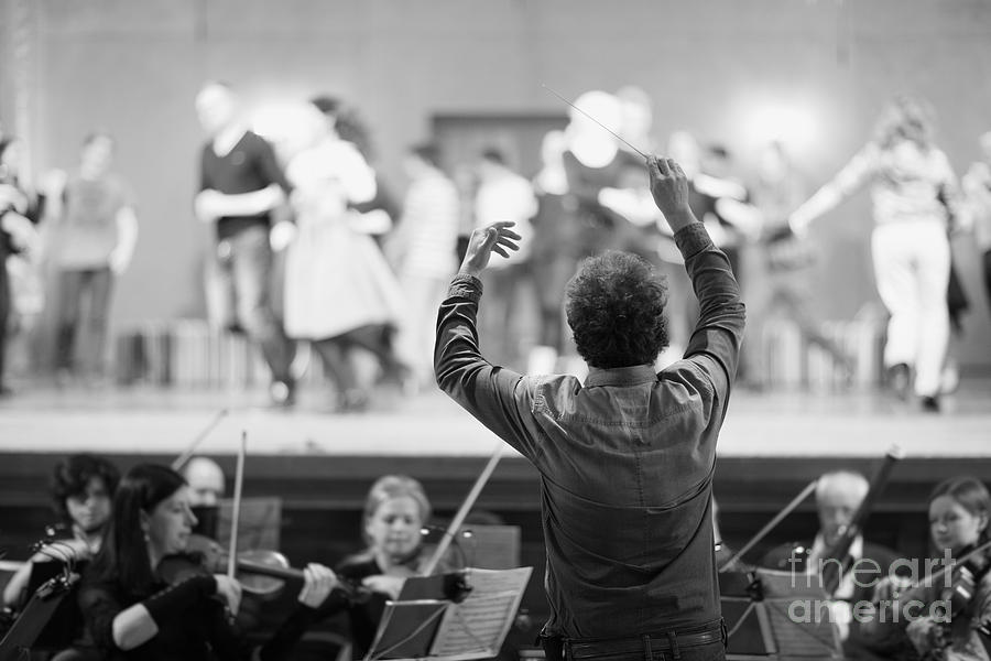 Harmony Photograph - Orchestra Conductor Leading The by Anna Jurkovska
