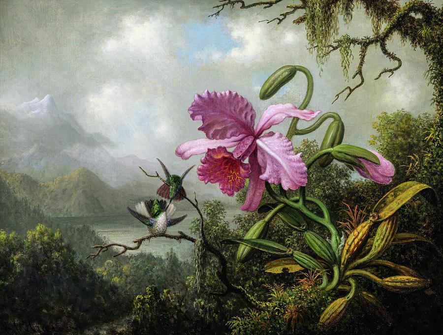 Martin Johnson Heade Painting - Orchid And Hummingbirds Near A Mountain Lake by Martin Johnson Heade
