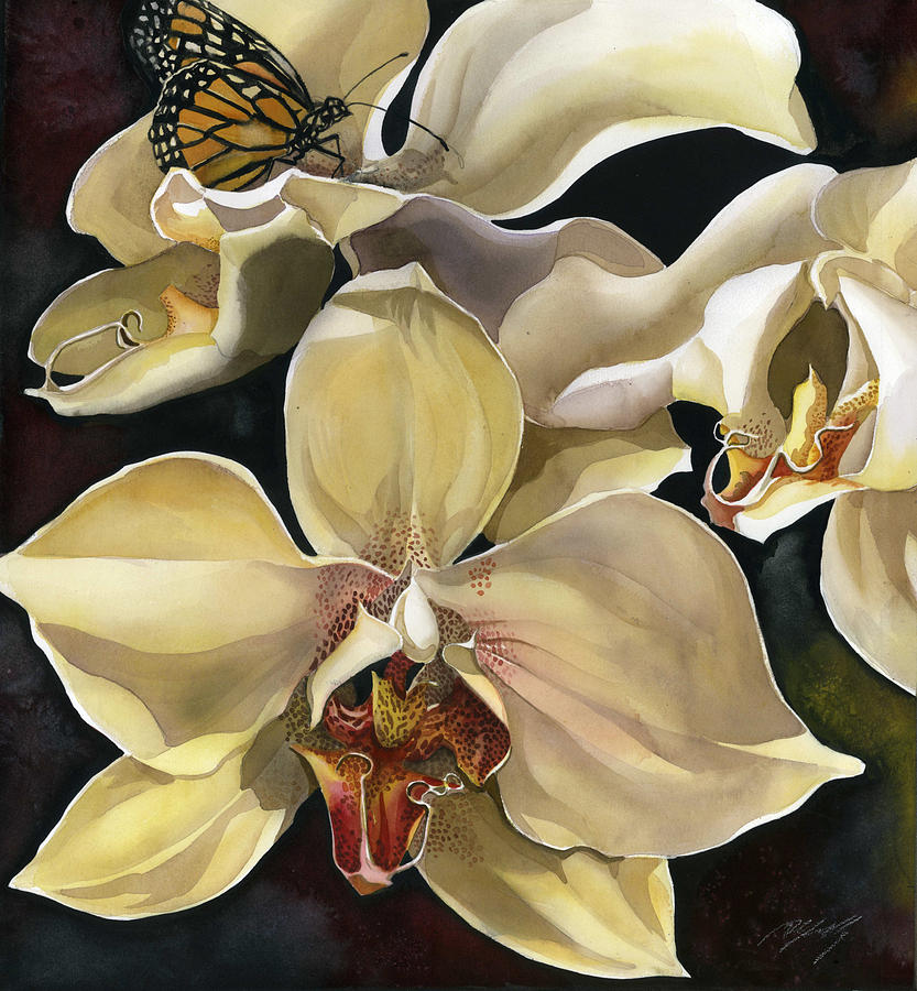 orchid with monarch butterfly by Alfred Ng