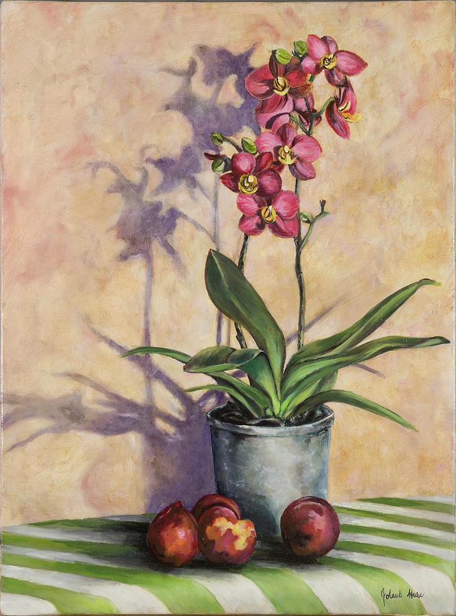 Orchids Painting - Orchids And Plums by Jolante Hesse