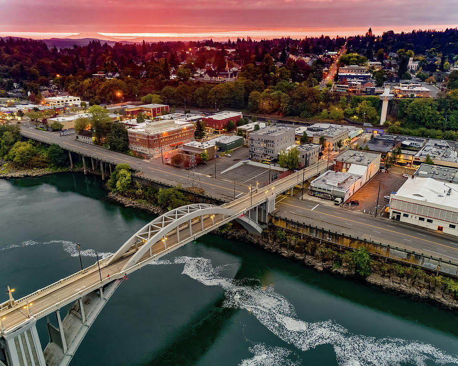 Aerial Photograph - Oregon City Morning by George Shubin