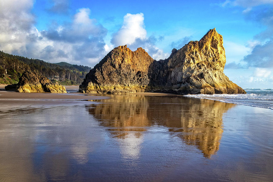 Oregon Coast Rock Reflections by Carolyn Derstine