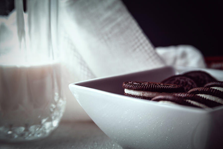 Oreos and Milk Closeup by Jeanette Fellows