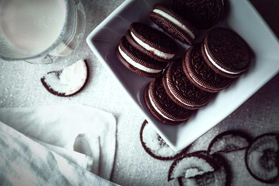 Oreos and Milk Flat Lay by Jeanette Fellows