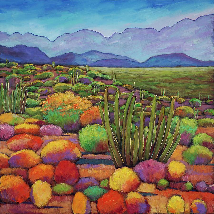 Desert Landscape Painting - Organ Pipe by Johnathan Harris