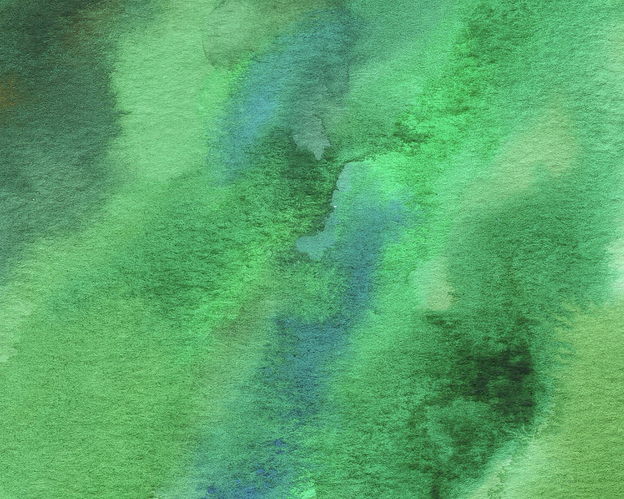 Abstract Painting - Organic Green Abstract Watercolor Wash by Irina Sztukowski