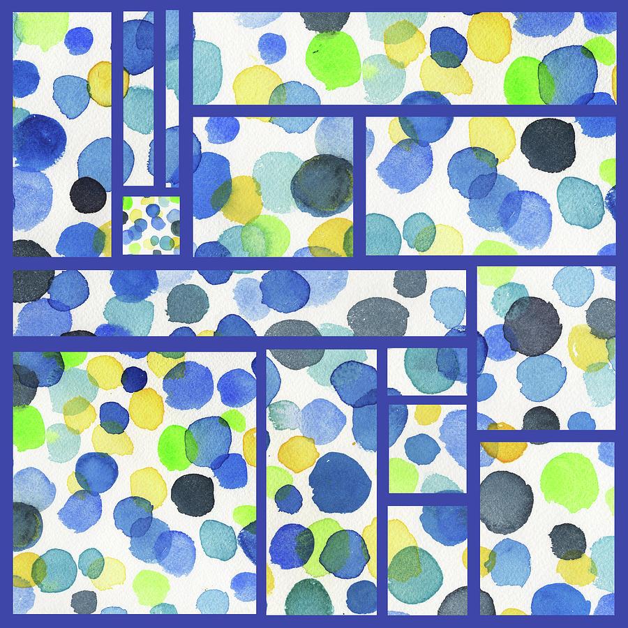 Organic Polka Dots Blocks Abstract Watercolor Painting