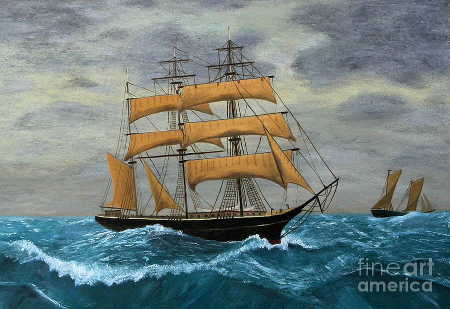 Sailboats Digital Art - Original Artwork, Clipper Ships At Sea by Terracestudio