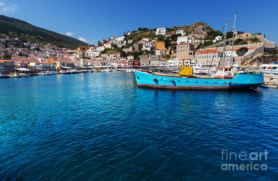 Harbor Photograph - Original Hydra Island In Greece by Galyna Andrushko