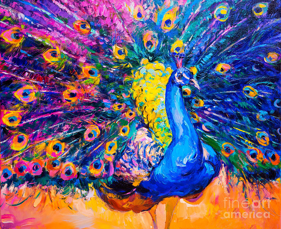 Feather Digital Art - Original Oil Painting On Canvas by Ivailo Nikolov