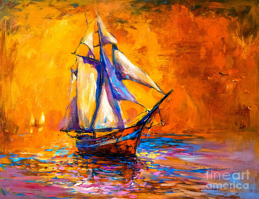 Harbor Digital Art - Original Oil Painting On Canvas-sail by Ivailo Nikolov