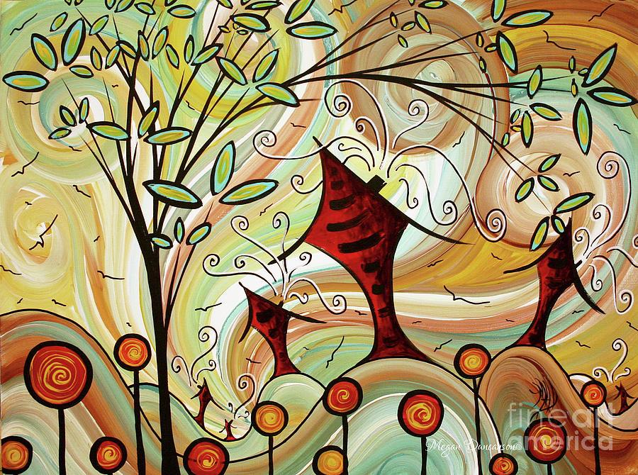 Original Whimsical Houses Landscape Paintings Fire Poppies by Megan Duncanson by Megan Duncanson
