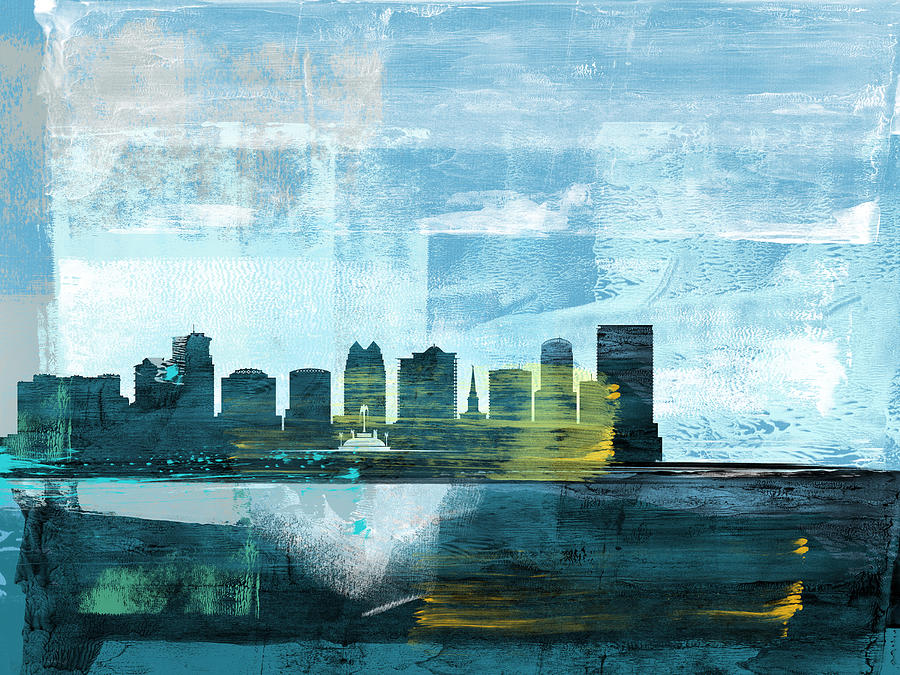 Orlando Mixed Media - Orlando Abstract Skyline I by Naxart Studio
