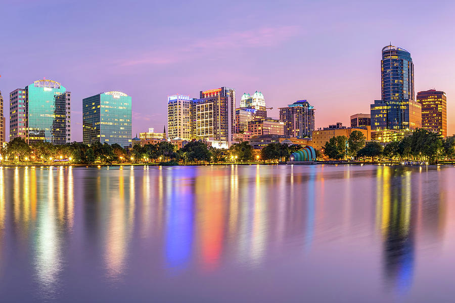 Orlando Florida Skyline Reflections on Lake Eola by Gregory Ballos