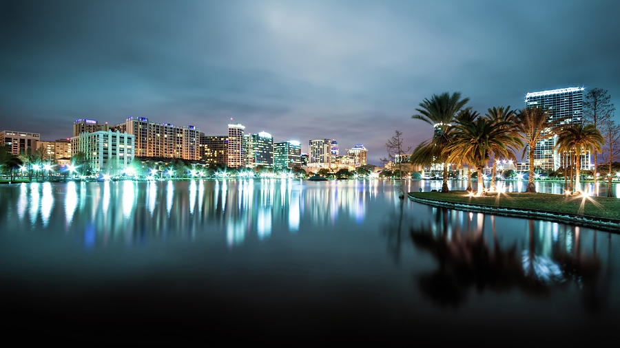 Orlando Night Cityscape Photograph by Sky Noir Photography By Bill Dickinson