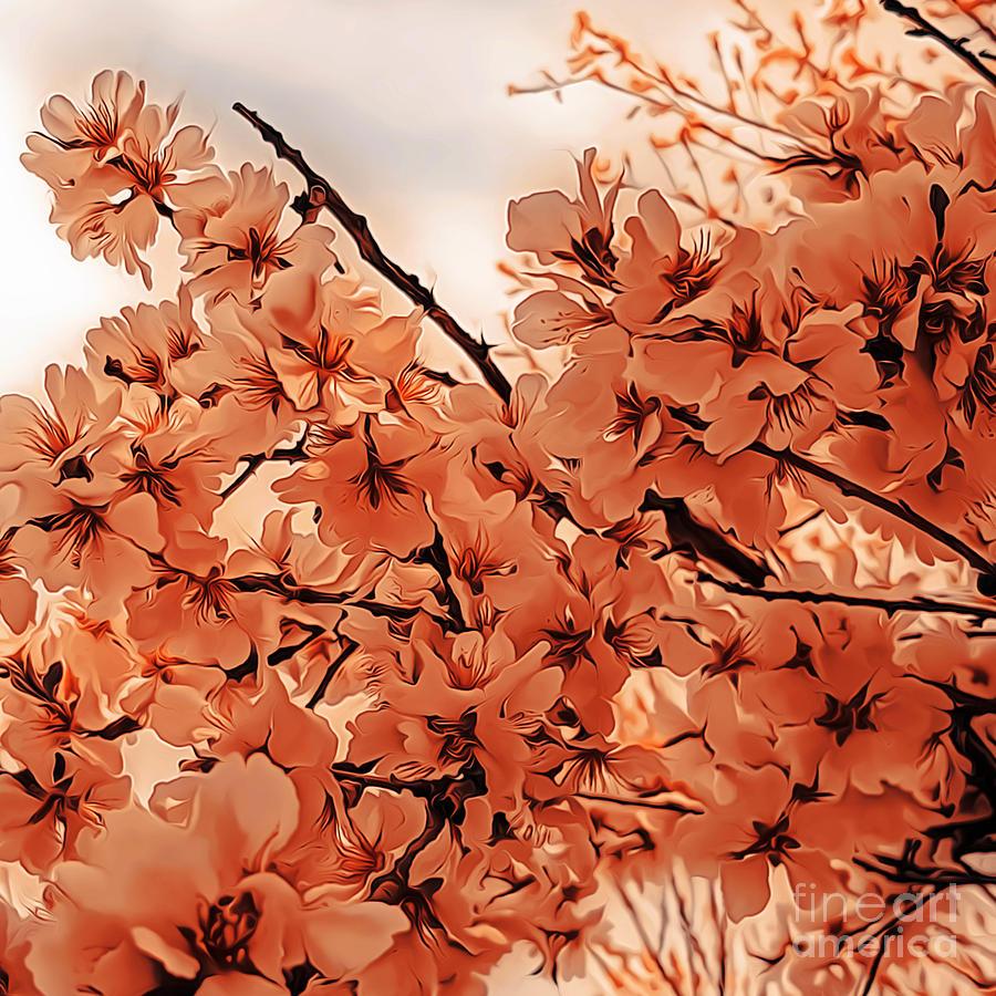 Ornamental Cherry Branches Orange Stylized Digital Art By Mira Minerva