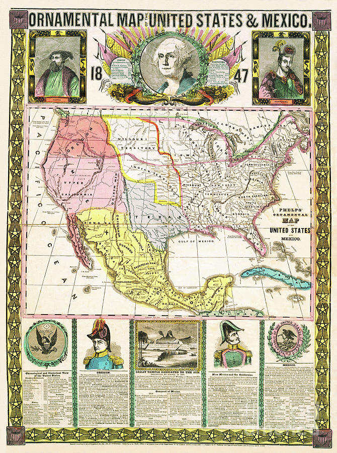 Ornamental Historical Map Of 1847 Us And Mexico by Zal Latzkovich
