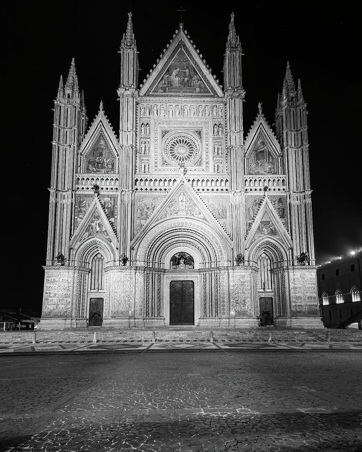 Orvieto Italy Cathedral Night BW by Joan Carroll