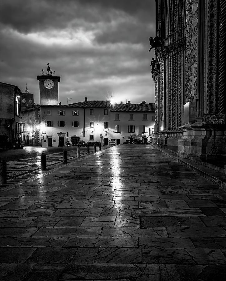 Orvieto Italy Early Morning BW by Joan Carroll