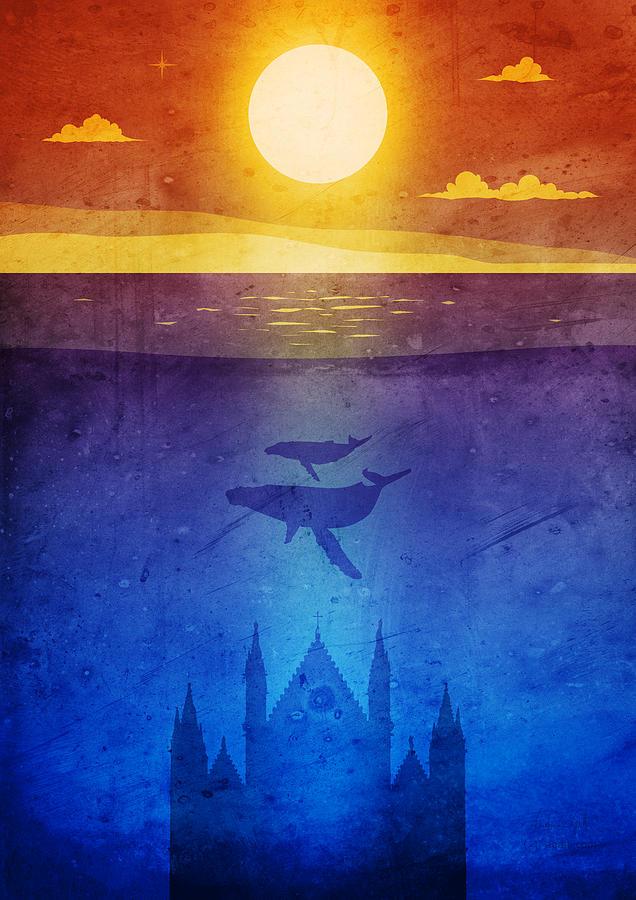 Orvieto Whales Sunset Digital Art