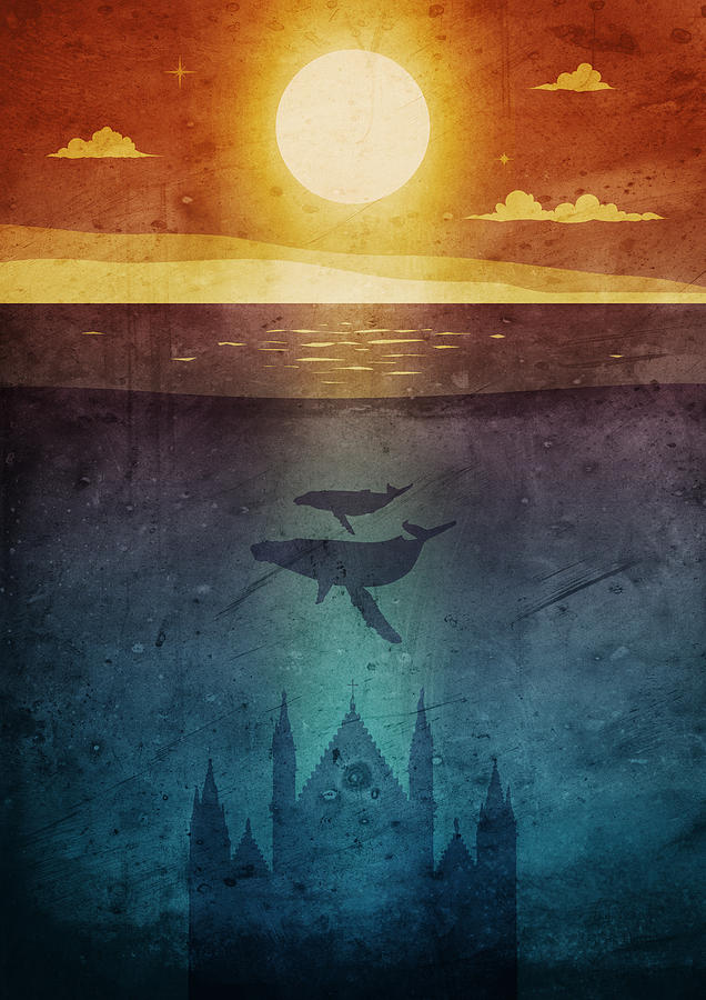 Orvieto Whales Twilight Digital Art