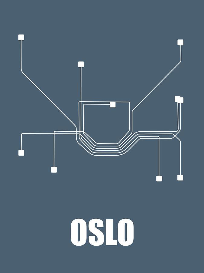 Oslo Digital Art - Oslo Subway Map by Naxart Studio